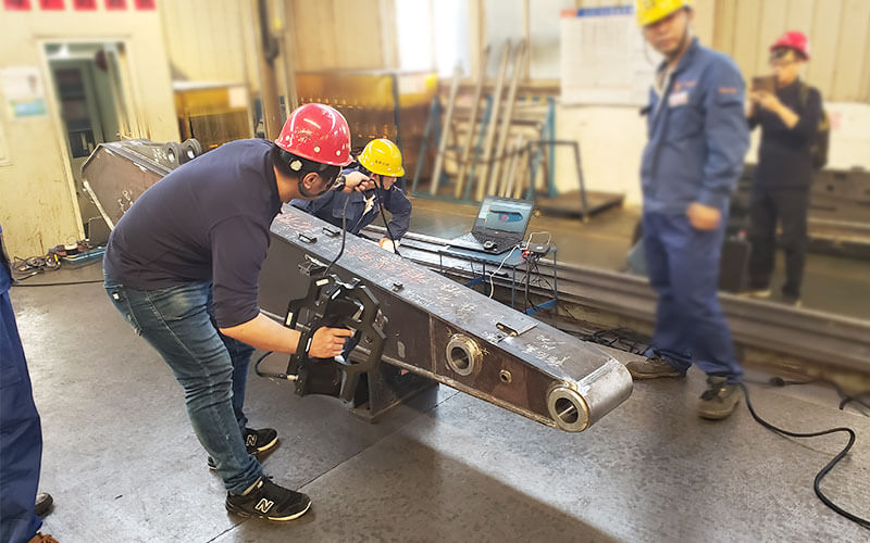 excavator stick shaft hole 3D inspection