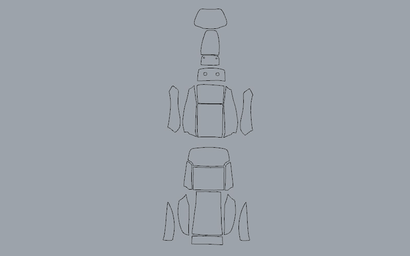 2D outline of auto seat