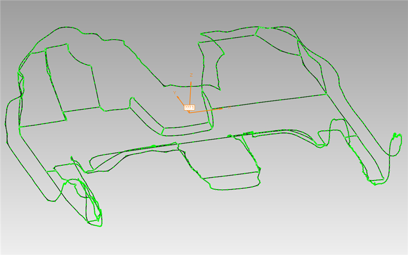 3d outline of auto foot mat