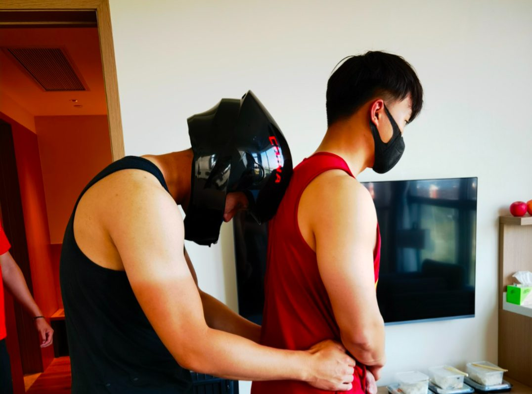 Interacting with athletes using head protective gears